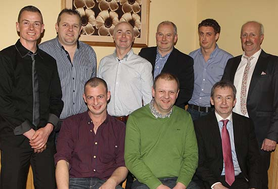 Vice chairman Richard Rodgers and chairman Nigel Glasgow, pictured with guests, Francis Connon and Matthew Cunning, Connon General Merchants; Wilbert Patterson, W and S Kiddies Corner; Robbie Johnston and Sean McGarvey, Millburn Concrete;  Andrew Tecey, Danske Bank; and Andrew West, Irwin Feeds, at the club's annual dinner.