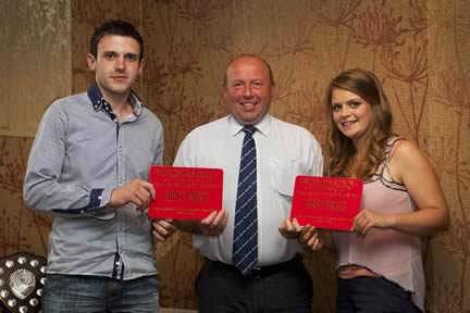 Under 21yrs team winners were Andrew Clarke and Zara Stubbs from Northern Ireland. Presenting the award is society president Iain Green.