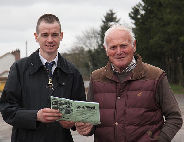 NI Simmental Cattle Breeders' Club chairman Richard Rodgers is pictured at the club's Dungannon show and sale with Malcolm Thom, Millburn Concrete, sponsor of the sale's commercial section.