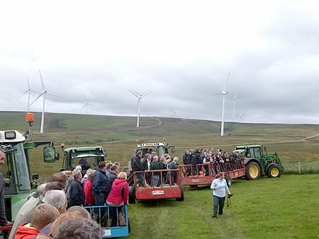 Visitors to the Hamilton farm