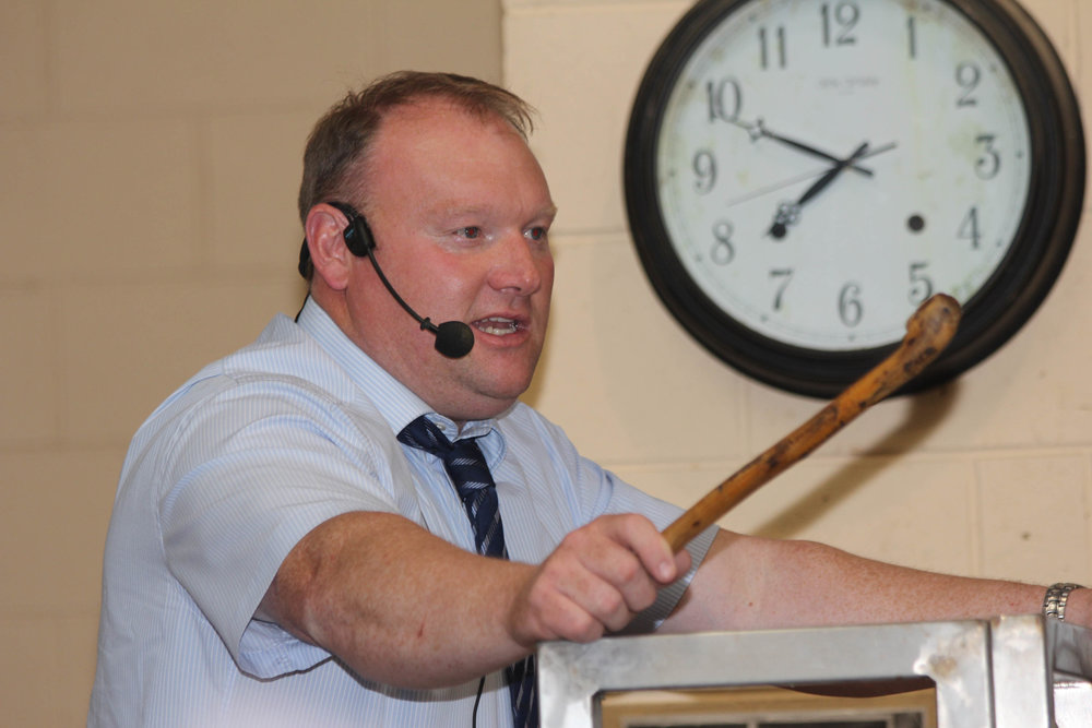 Auctioneer Graham Loughrey conducts the Simmental Club's evening show and sale in Ballymena Mart.