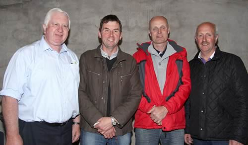 Michael Robson, Doagh, and Cecil McIlwaine, Newtownstewart, were the top placed competitors in the open section. Included are master judge, John Moore, Beragh, and Nigel Glasgow, chairman.