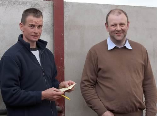 NI Simmental club vice-chairman Richard Rodgers, Portglenone, and Matthew Cunning. Glarryford.