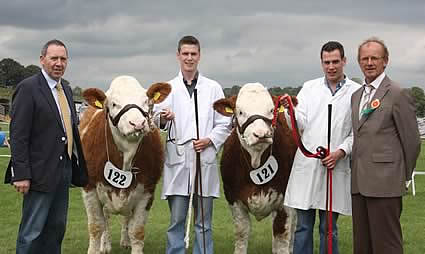 The runners-up in the Ivomec Super Simmental Pair of the Year Competition were Clonguish Bambi and Clonguish Brooklyn owned by brothers Shane and Paul McDonald, Tempo. Adding their congratulations are club chairman, Pat Kelly, and Keith Vickery, judge.