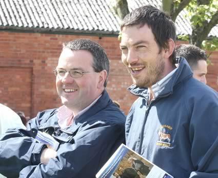 Irish Simmental Cattle Society members, Hugh Murray and Garrett Behan, keep an eye on the judging