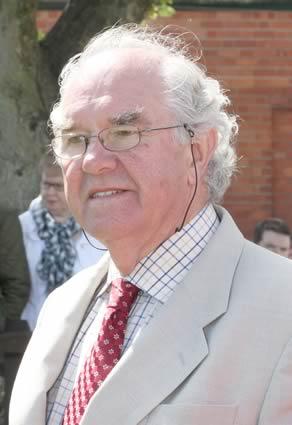 Joe Campbell, Strabane, keeps an eye on the Simmental judging