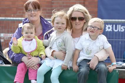 Simmental supporters Joanne and Lexie Heatrick, Portadown, with Elaine, Hanna and Robert Wilson, Newry