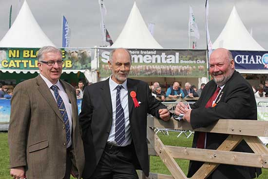 Pictured at Balmoral Show are, from left: Neil Shand, secretary, British Simmental Cattle Society; Simmental judge Gordon Clark, Fife, Scotland; and chief steward Jay Lindsay.