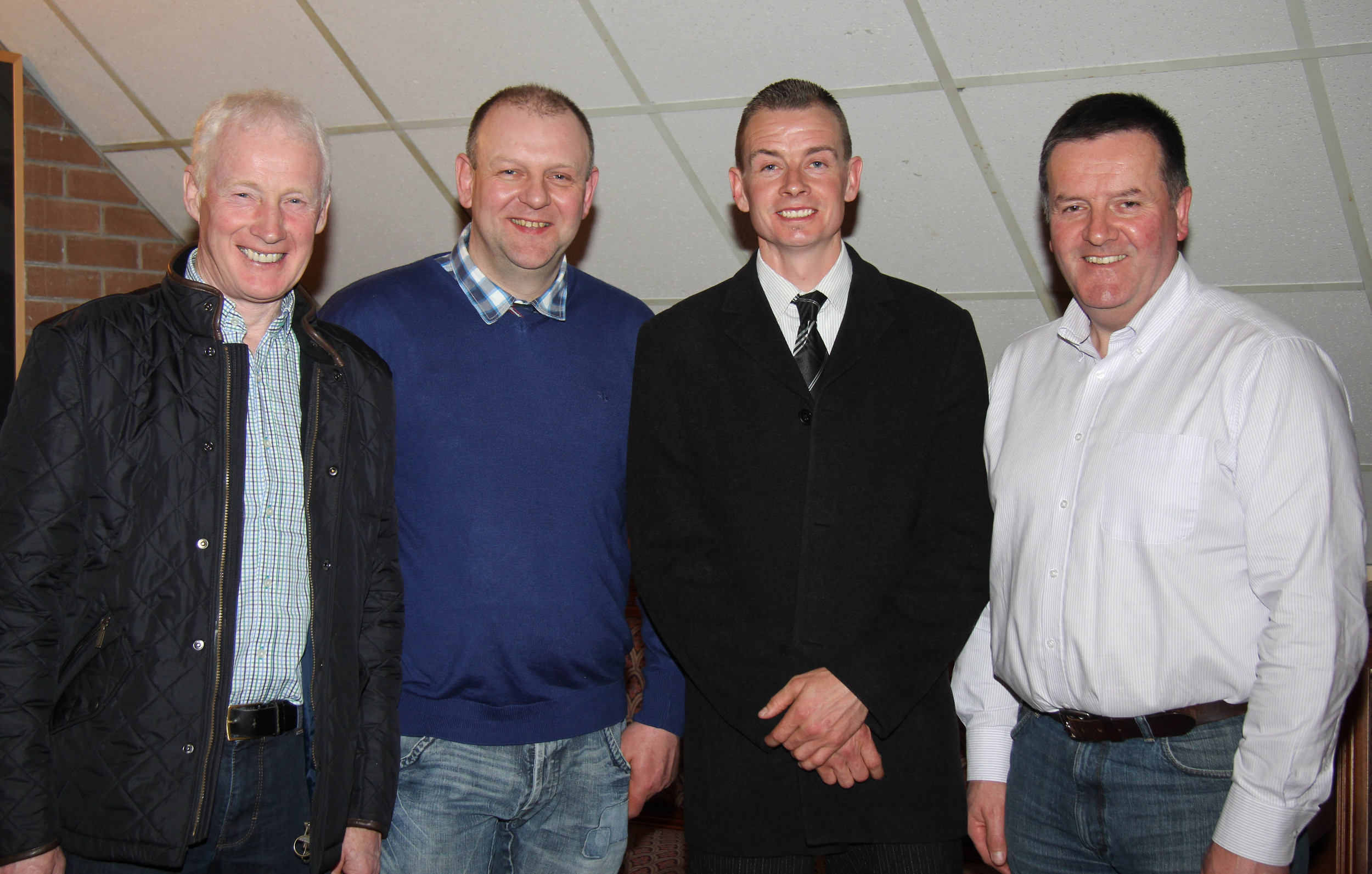 Office bearers elected at the NI Simmental Club's AGM, Dungannon, from left: Leslie Weatherup, treasurer; Matthew Cunning, vice chairman; Richard Rodgers, chairman: and Robin Boyd, secretary. Picture: Julie Hazelton