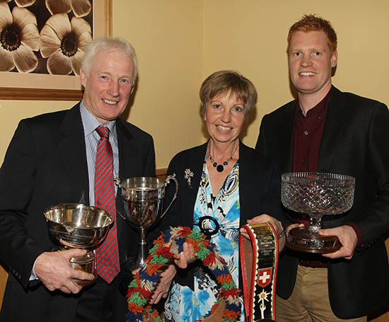 Leslie, Iris and Christopher Weatherup, Ballyclare, collected an array of silverware and trophies at the NI Simmental Cattle Breeders' Club's annual dinner, Dungannon.
