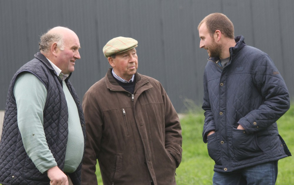 Pat Kelly, centre, Tempo, with Jim and Robert Hamilton, Rock, Dungannon, at the NI Simmental Club's stockjudging competition, held at the Lisglass Herd, Ballyclare.