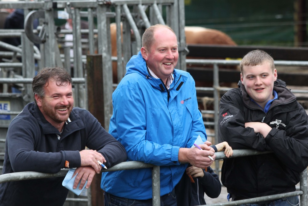 Pictured at the NI Simmental Club's stockjudging event, hosted by the Lisglass Herd, Ballyclare, are, from left: Alan Wilson, Newry; George Nelson, Rosslea; and Craig Cowan, Fivemiletown.